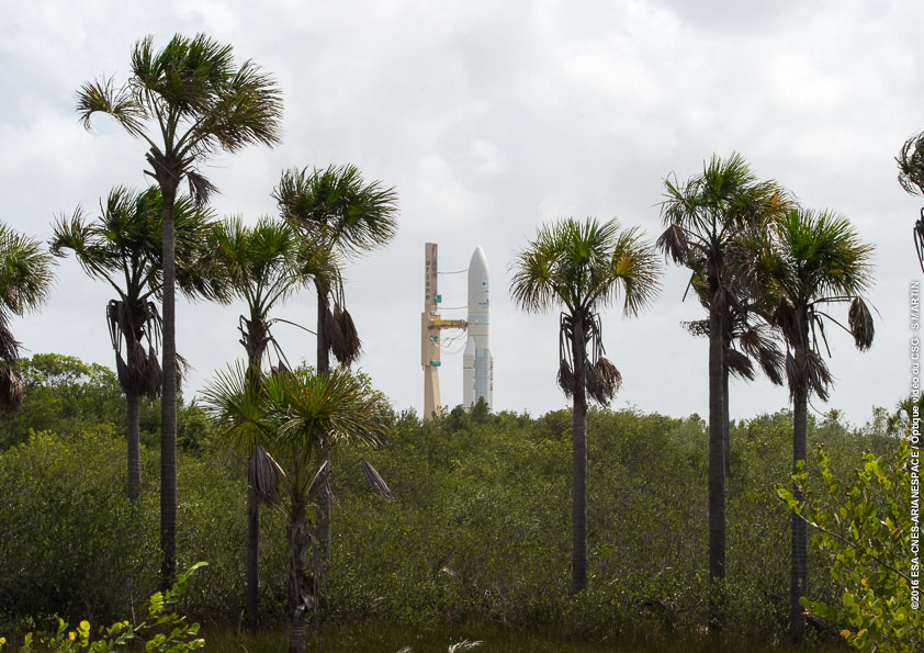 The Ariane 5 rocket with Intelsat 29e is pictured on its trek to the launch pad Tuesday. Credit: ESA/CNES/Arianespace – Photo Optique Video du CSG – S. Martin