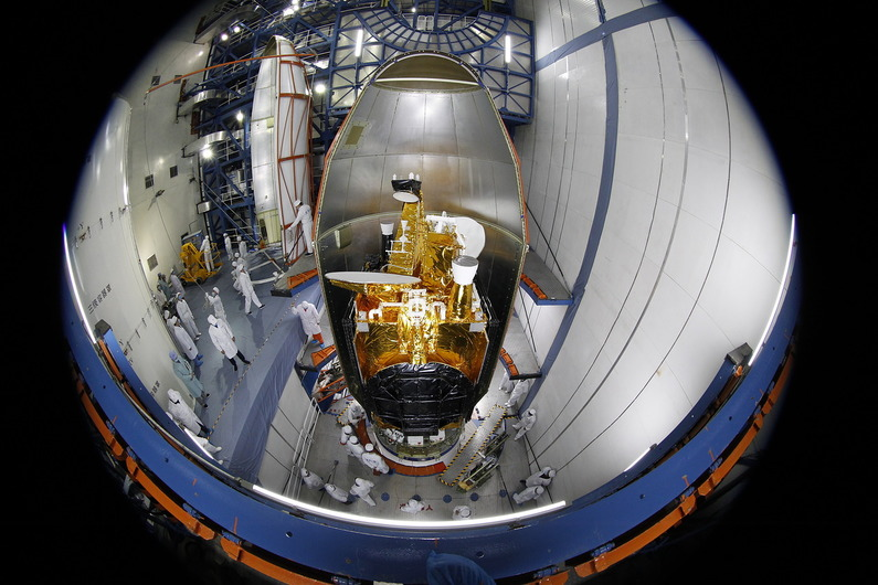 The Belintersat 1 satellite is seen before encapsulation inside the Long March 3B rocket's payload fairing. Credit: Belintersat