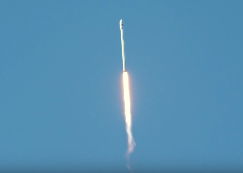 The Falcon 9 rocket passes the speed of sound. The first stage's nine Merlin 1D engines produce 1.3 million pounds of thrust at sea level, ramping up to 1.5 million pounds of thrust in vacuum.
