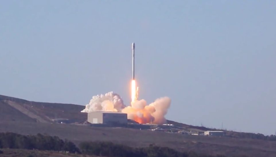 After the rocket's nine Merlin 1D engines pass an automated health check, the Falcon 9 is released from Space Launch Complex 4-East at Vandenberg Air Force Base, California.