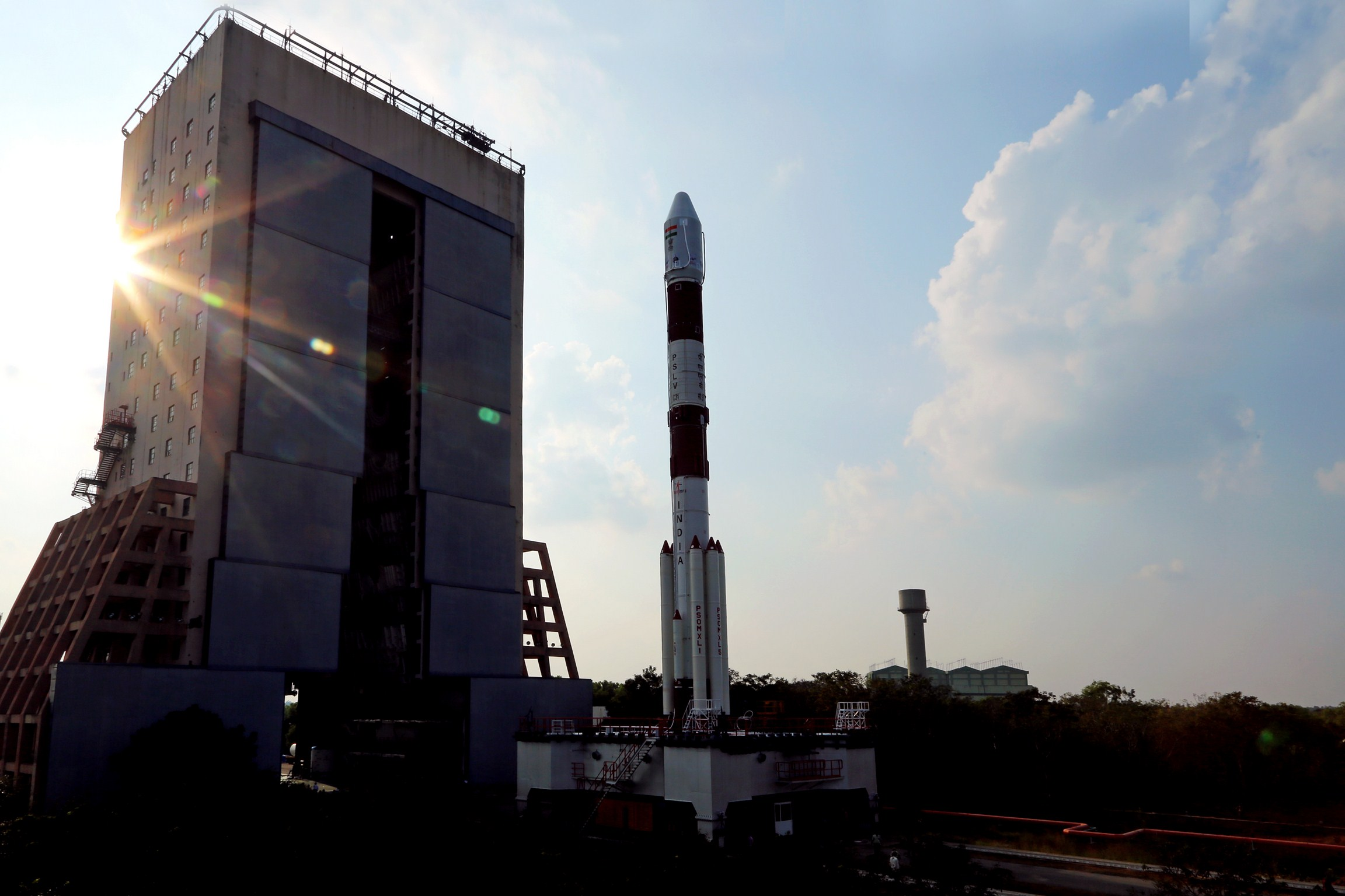 The PSLV rolls out of its Vehicle Assembly Building at the Satish Dhawan Space Center en route to the launch site's Second Launch Pad. Credit: ISRO