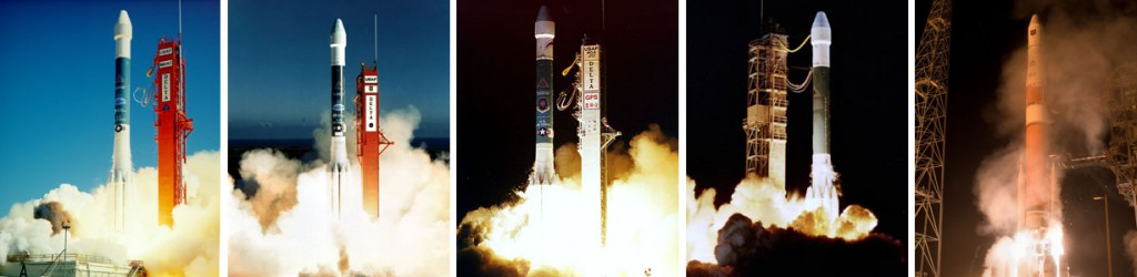 The first successful launches in the GPS 2 generation -- Block 2 in 1989, Block 2A in 1990, Block 2R in 1997, Block 2R-M in 2005 and Block 2F in 2010. Credit: McDonnell Douglas, Boeing and ULA