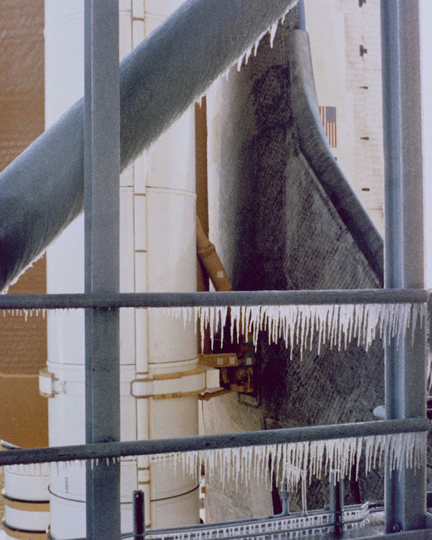Unseasonably frigid temperatures in Florida caused icicles to form on Challenger's launch pad before the shuttle's liftoff. Credit: NASA