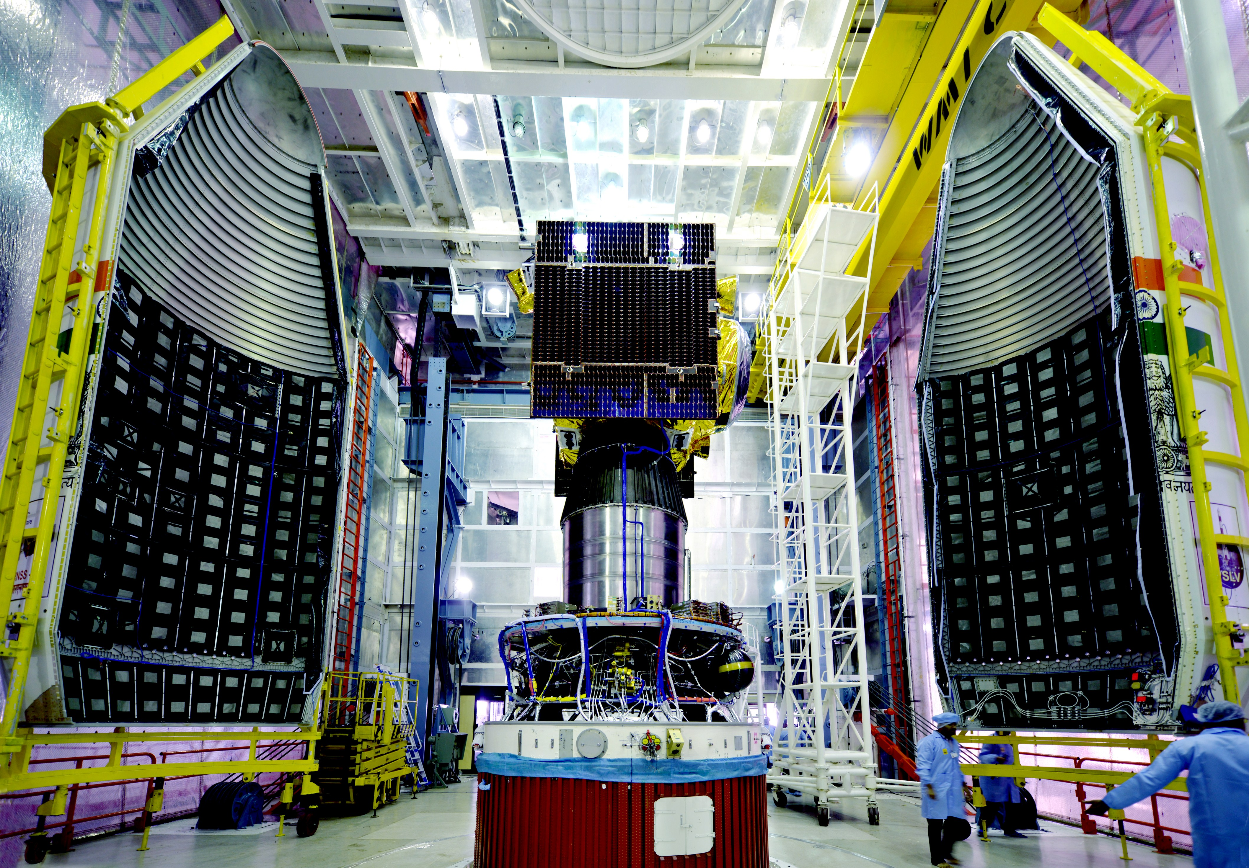The IRNSS 1E satellite is pictured before its encapsulation inside the PSLV's payload fairing. Credit: ISRO