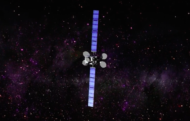 Artist's concept of the Intelsat 29e satellite with antennas and solar panels unfurled. Credit: Intelsat