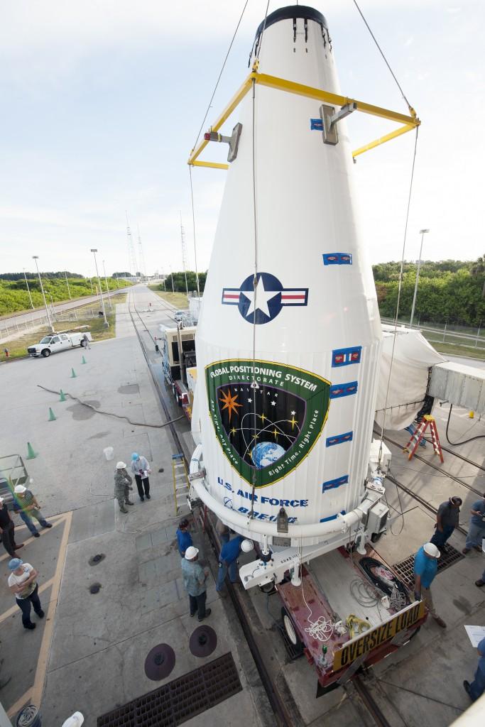 File photo of GPS satellite lift atop Atlas 5. Credit: ULA
