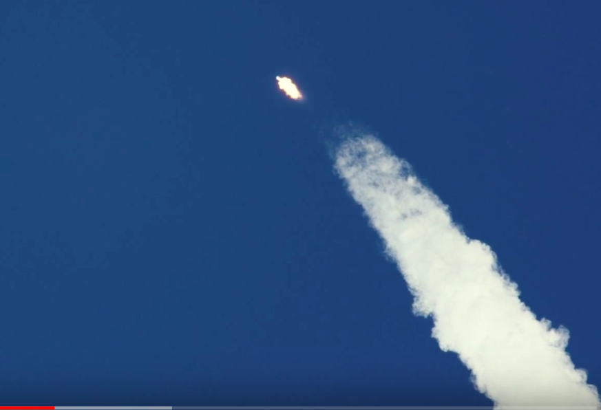 The Falcon 9 rocket reaches Max Q, the point of maximum aerodynamic pressure.