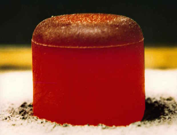 File photo of a plutonium-238 pellet. Credit: Los Alamos National Laboratory