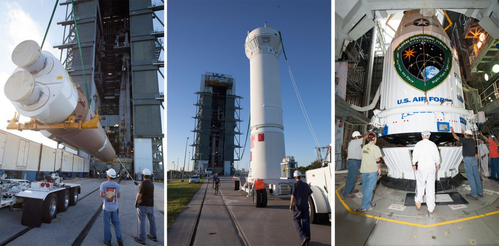 File photos of Atlas 5 stacking process. Credit: ULA