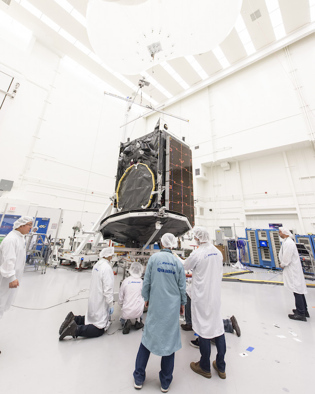 The SES 9 satellite, pictured here during manufacturing, carries chemical and electric propulsion systems. Credit: SES/Boeing
