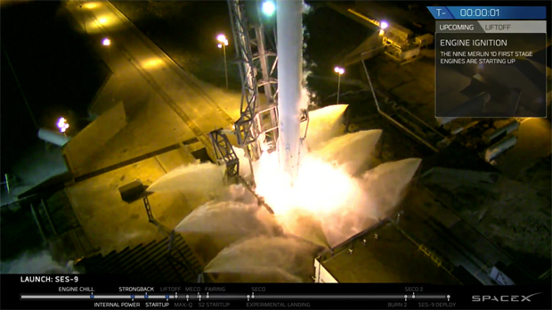 The Falcon 9 rocket's nine first stage engines start up moments before the countdown aborted Sunday. Credit: SpaceX
