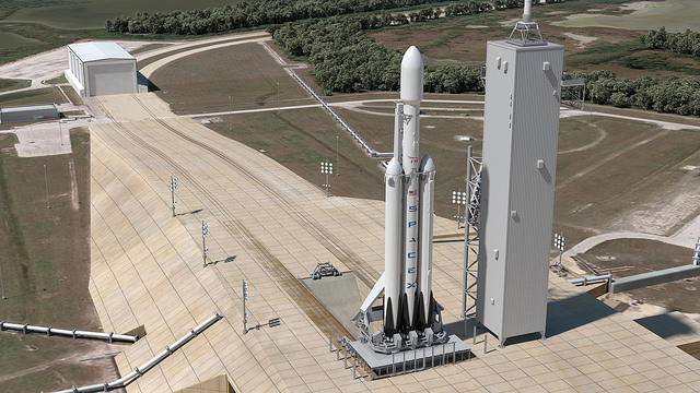 Artist's concept of a Falcon Heavy rocket at launch pad 39A at the Kennedy Space Center in Florida. Credit: SpaceX