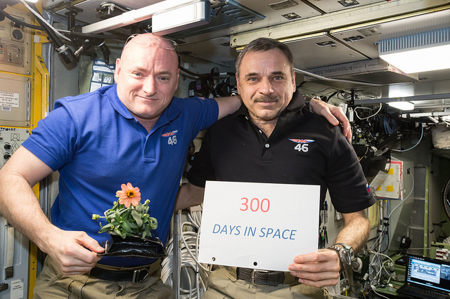 NASA astronaut Scott Kelly and Russian cosmonaut Mikhail Kornienko pose for a photo on the International Space Station in January after 300 days in space. Credit: NASA