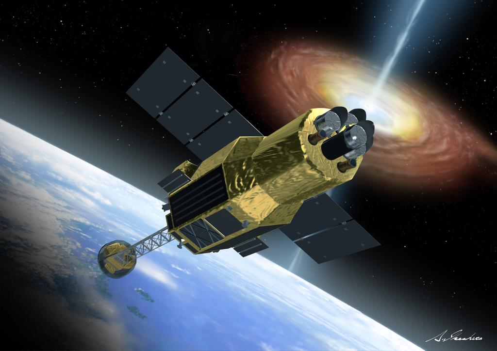 Artist's concept of the Hitomi spacecraft with its solar panels and X-ray instrument boom extended in orbit. Credit: JAXA/Akihiro Ikeshita