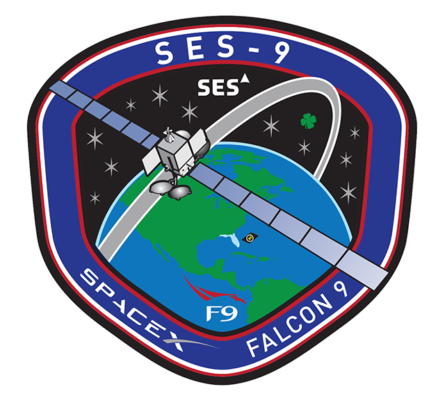 The mission patch for the Falcon 9 launch with SES 9. Credit: SpaceX