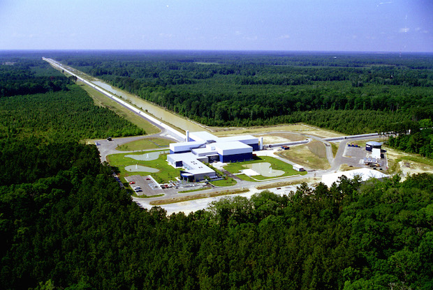 Aerial photo of the LIGO facility in Livingston, Louisiana. Credit: LIGO Consortium