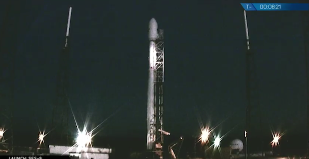 SpaceX's Falcon 9 rocket launch Thursday aborted less than two minutes before liftoff. Credit: SpaceX