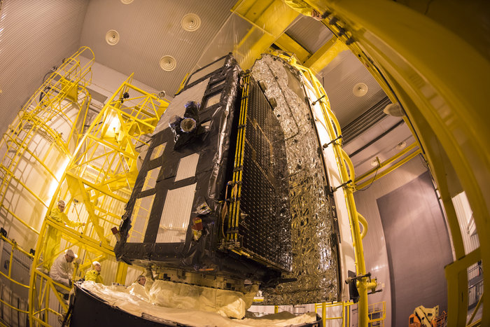 The Sentinel 3A satellite was enclosed inside the Rockot's clamshell-like payload fairing Feb. 8. Credit: ESA–Stephane Corvaja, 2016