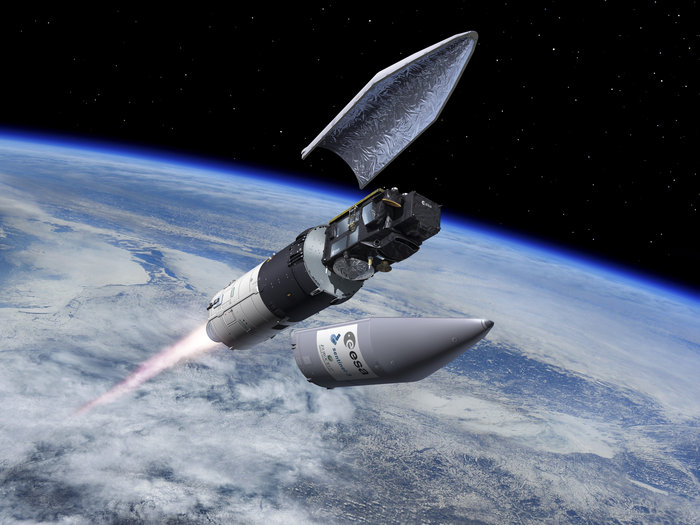 Artist's view of the launch of Sentinel 3A aboard a Russian Rockot vehicle. This illustration depicts the Rockot's payload fairing jettisoning a few minutes after liftoff, revealing Sentinel 3A. Credit: ESA–Pierre Carril