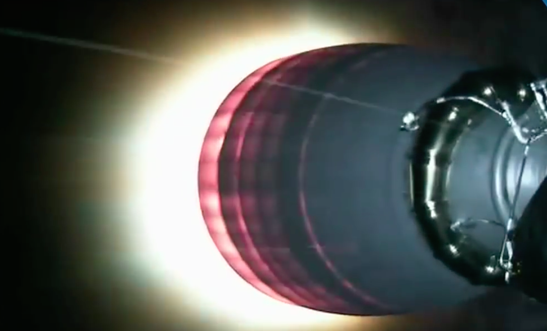 The second stage Merlin 1D vacuum engine ignites for an approximately 6-minute burn to put the rocket and SES 9 into a preliminary parking orbit.