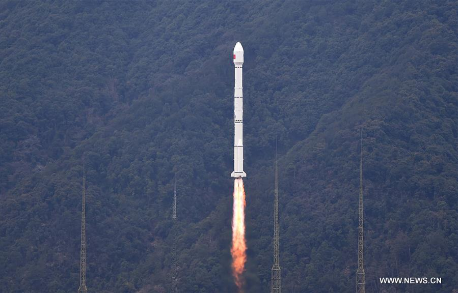 A Long March 3C rocket lifts off Monday with a new Beidou navigation satellite. Credit: Xinhua