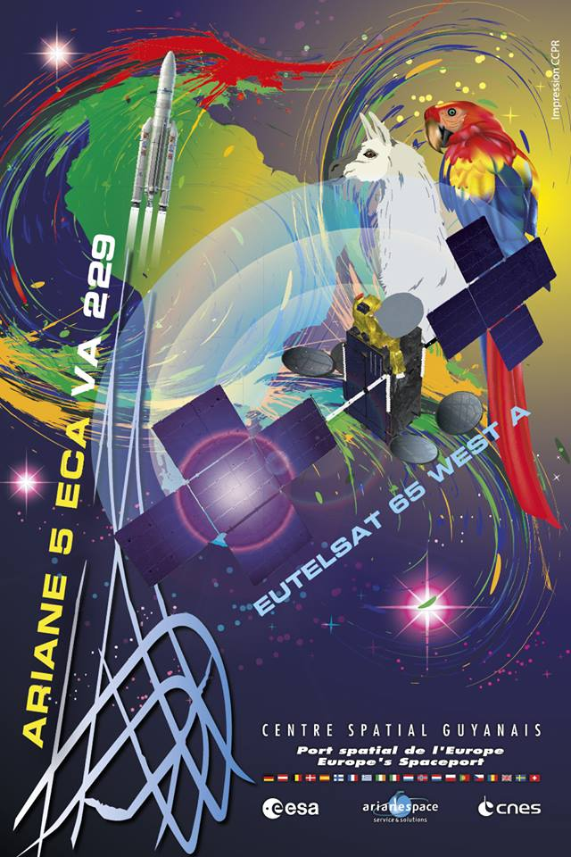 The mission poster for Wednesday's launch of Eutelsat 65 West A. Credit: Credit: ESA/CNES/Arianespace – Photo Optique Video du CSG