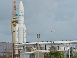The Ariane 5 rocket set for liftoff Wednesday rolls out to its launch pad in French Guiana on Monday. Credit: ESA/CNES/Arianespace – Photo Optique Video du CSG