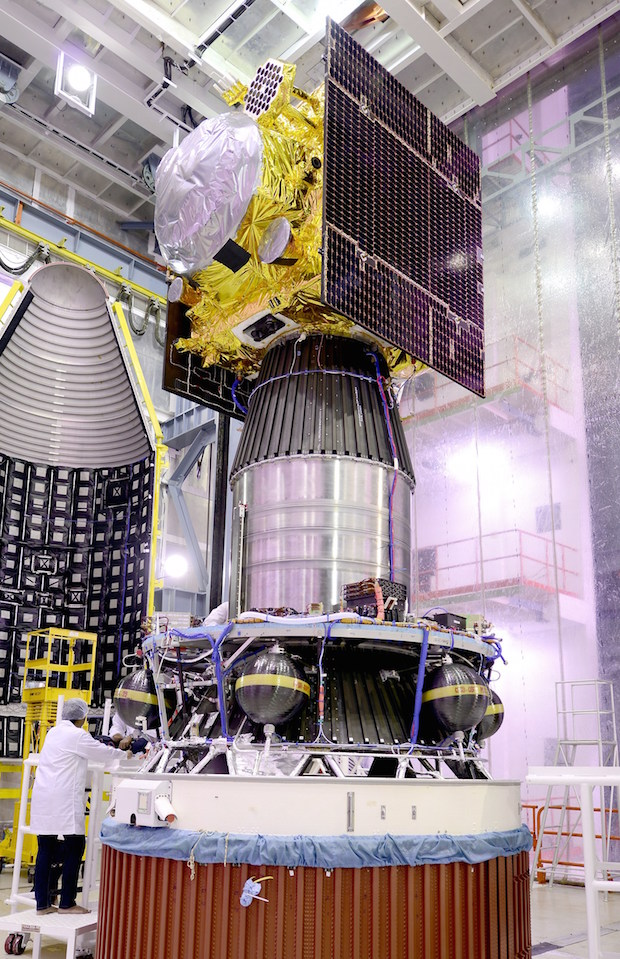 The IRNSS 1F spacecraft before encapsulation inside the PSLV's payload fairing. Credit: ISRO