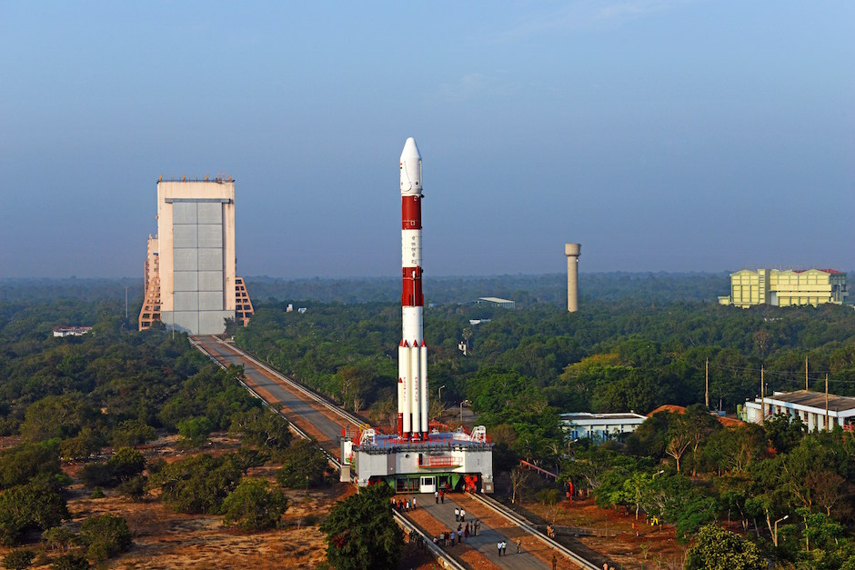 The PSLV is moved to the Second Launch Pad at the Satish Dhawan Space Center ahead of the launch of IRNSS 1F. Credit: ISRO