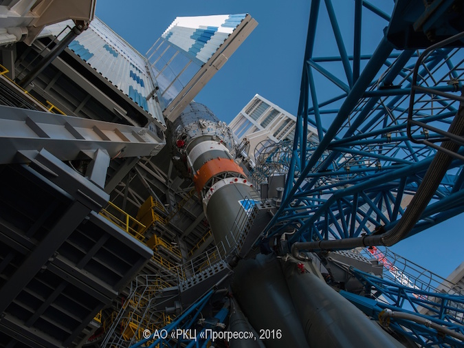 The mobile service gantry at the Soyuz launch pad at Vostochny is seen moving around the three-stage booster during tests last week. Credit: TsSKB Progress