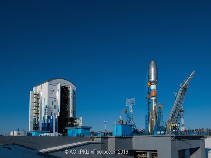 The Soyuz-2.1a rocket sits on its launch pad at the Vostochny Cosmodrome during tests last week. Credit: TsSKB Progress