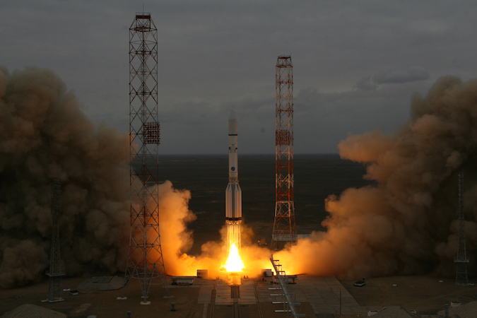 The ExoMars 2016 mission blasts off aboard a Proton rocket March 14. Credit: Roscosmos