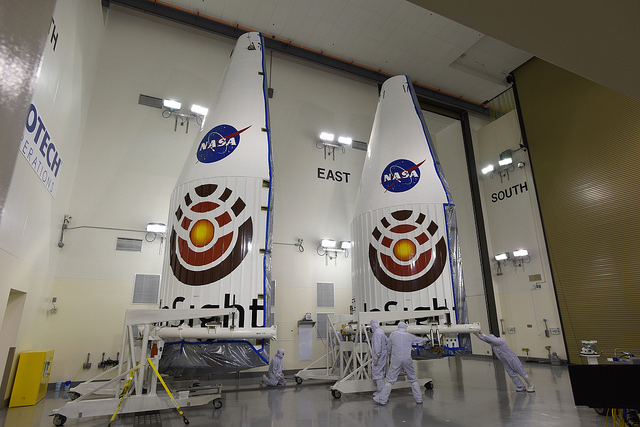 The Atlas 5 rocket's payload fairing assigned to the InSight launch is pictured inside a clean room at Vandenberg Air Force Base late last year, before the mission's launch delay. Credit: NASA/Joe Davila