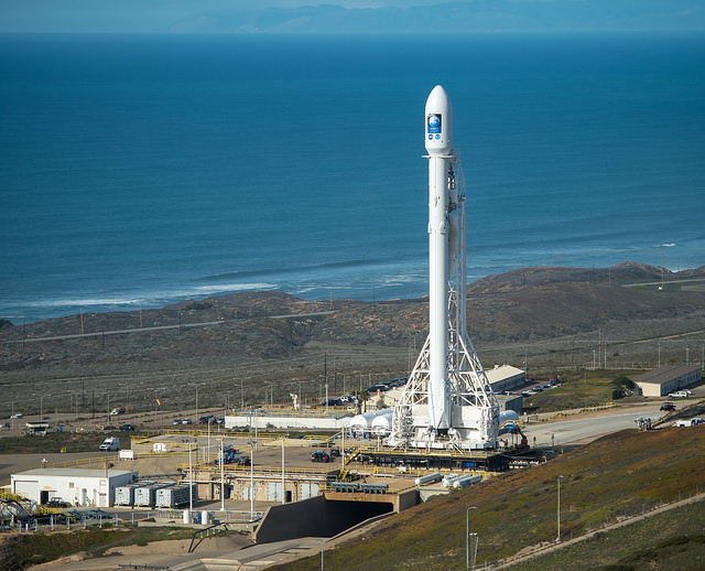 file photo of a spacex falcon 9 rocket on the launch pad at vandenberg air force base california credit nasa bill ingalls with russian launch grounded