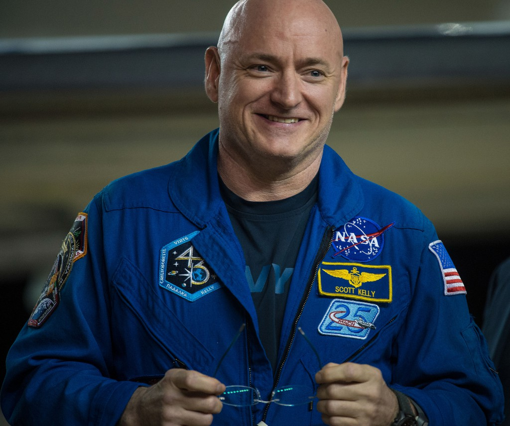 Scott Kelly of NASA is seen after returning to Houston on March 3 after his return to Earth the previous day. Credit: NASA/Joel Kowsky
