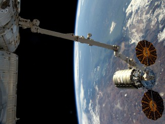 The most recent Cygnus at the space station. Credit: Astronaut Tim Copra