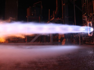 File photo of a hotfire test using components of Blue Origin's BE-4 engine. Credit: Blue Origin