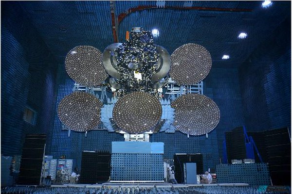 The JCSAT 14 communications satellite during prelaunch testing at SSL's factory in Palo Alto, California. Credit: SSL