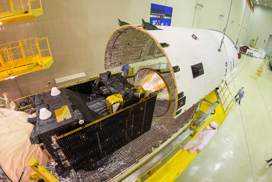 The ExoMars spacecraft was encapsulated inside the Proton rocket's payload fairing March 2. Credit: ESA - B. Bethge