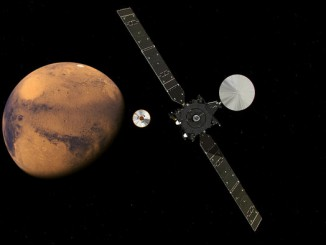 Artist's concept of the ExoMars Trace Gas Orbiter deploying the Schiaparelli lander on final approach to Mars. Credit: ESA/ATG medialab