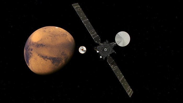Artist's concept of the Trace Gas Orbiter releasing the Schiaparelli lander on approach to Mars on Oct. 16. Credit: ESA/ATG medialab
