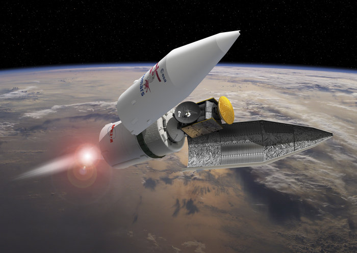 Artist's concept of the Proton rocket's payload fairing releasing in flight, revealing the ExoMars spacecraft. Credit: ESA–David Ducros