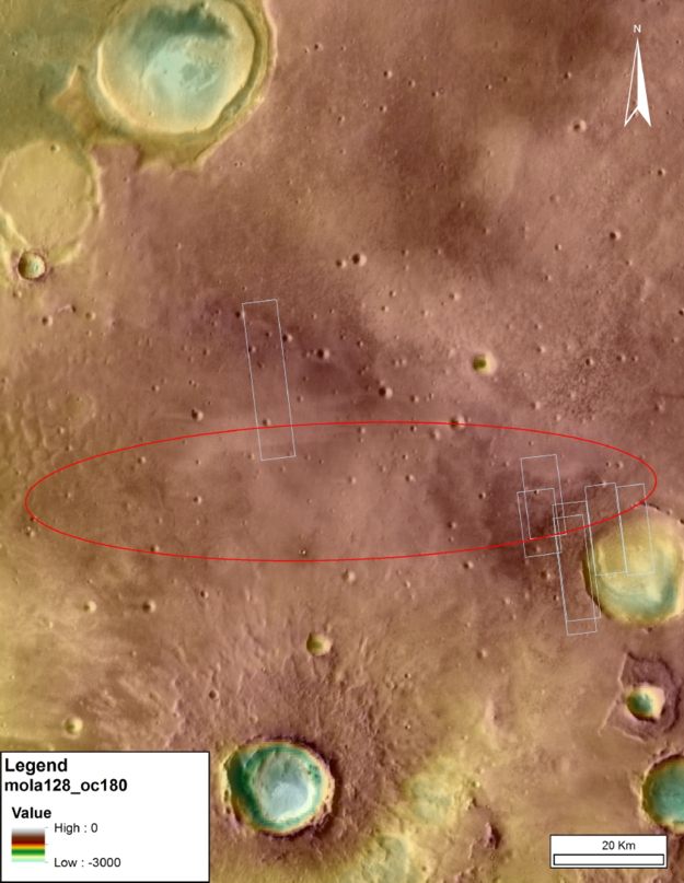 The ExoMars 2016 entry, descent, and landing demonstrator module, known as Schiaparelli, will touch down on Mars on Oct. 19, 2016, within the solid ellipse marked on this topographical image. The ellipse measures about 115 kilometers (71 miles) east-west and 25 kilometers (15 miles) north-south in the Meridiani Planum region near the Martian equator. Credit: IRSPS/TAS-I