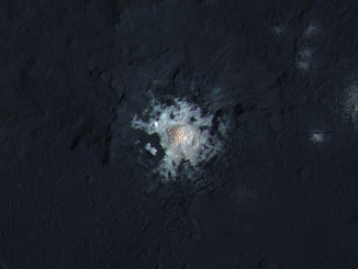The bright central spots near the center of Occator Crater are shown in enhanced color in this view from NASA's Dawn spacecraft. Such views can be used to highlight subtle color differences on Ceres' surface. This image combines high-resolution black-and-white imagery from February 2016 with lower-resolution color data collected by Dawn in September 2015. NASA/JPL-Caltech/UCLA/MPS/DLR/IDA/PSI/LPI