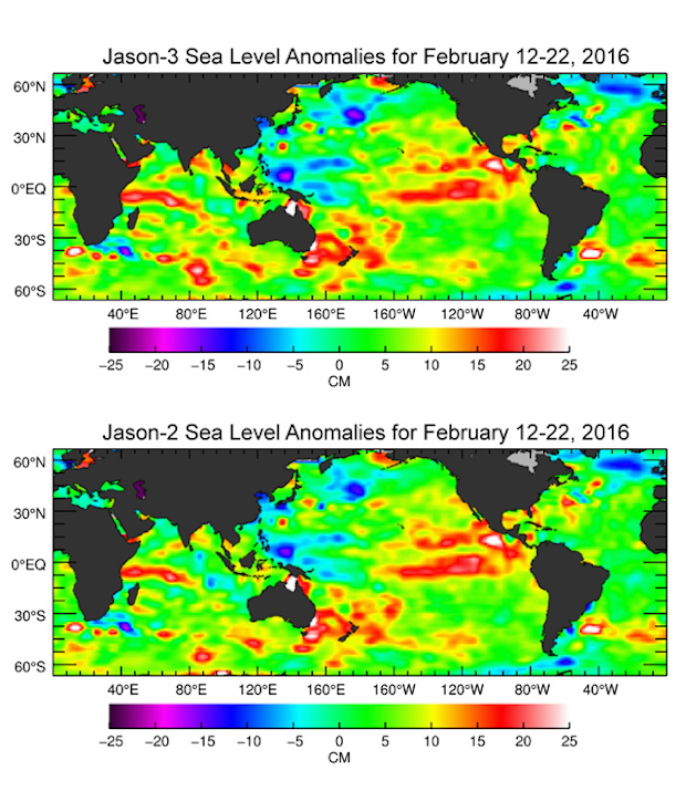 The U.S./European Jason-3 satellite has produced its first map of sea surface height, which corresponds well to data from its predecessor, Jason-2. Higher-than-normal sea levels are red; lower-than-normal sea levels are blue. El Niño is visible as the red blob in the eastern equatorial Pacific. Credit: NASA/JPL-Caltech/Ocean Surface Topography Science Team