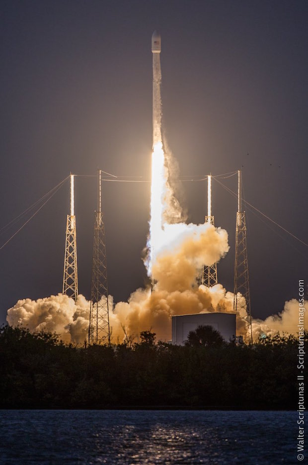 A SpaceX Falcon 9 rocket lifts off from Complex 40 at Cape Canaveral Air Force Station, FL, carrying the SES-9 Satellite.