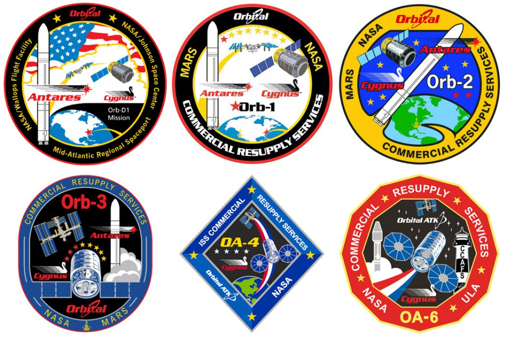 Cygnus mission patches. Credit: Orbital ATK