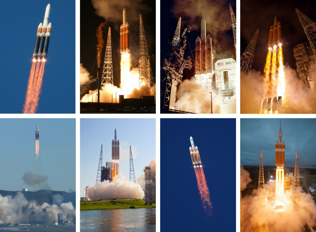 Previous Delta 4-Heavy launches. Photos by Gene Blevins, Ben Cooper and ULA