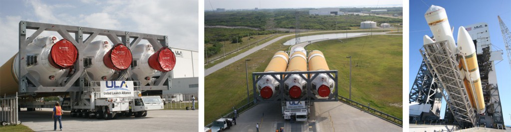 File photos of Delta 4-Heavy rollout and erection. Photos by ULA