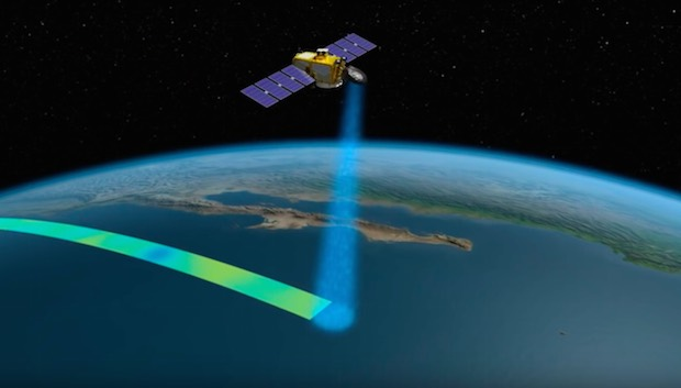 Artist's concept of the Jason 3 satellite mapping the ocean surface with its radar altimeter. Credit: NASA